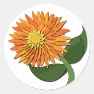 Orange Paper Flower Sticker
