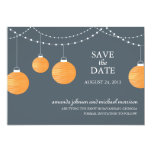 Orange Paper Lantern Wedding Save the Date Card