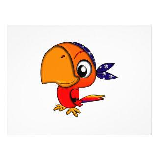 Orange parrot cartoon flyer