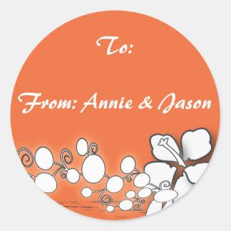 Orange Passion Flower Hawaii  Beach Wedding Classic Round Sticker