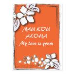 Orange Passion Flower Hawaii  Beach Wedding Postcards