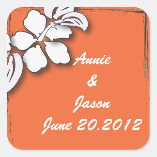 Orange Passion Flower Hawaii  Beach Wedding Square Sticker