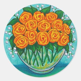 Orange Passion Roses Sticker