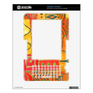 Orange Patchwork . orange, red and green Kindle 2 Skins
