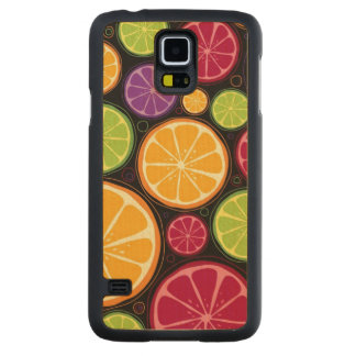 Orange pattern and background carved maple galaxy s5 case