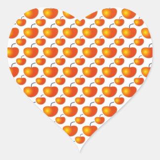 Orange Pattern Heart Sticker