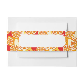 Orange pattern invitation belly band