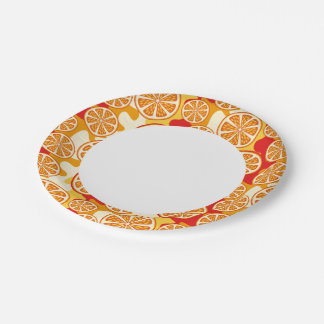 Orange pattern 7 inch paper plate