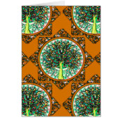 Orange Patterned Tree of Life Card (<em>$3.15</em>)