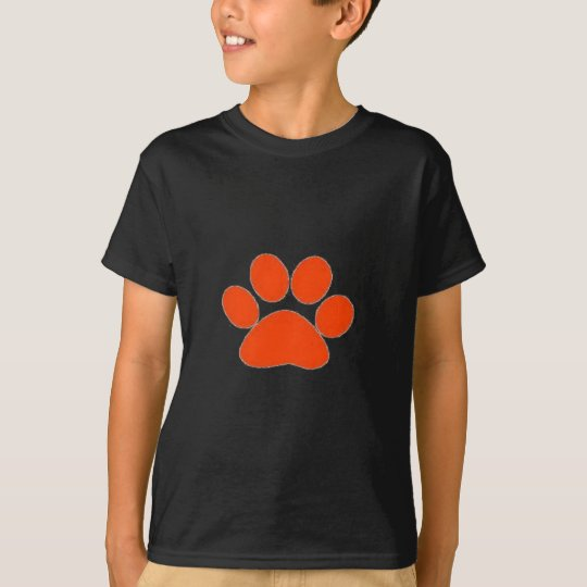 Orange Paw print apparel and more! T-Shirt