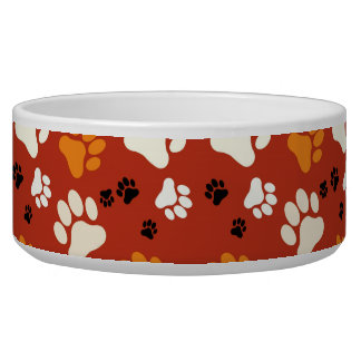 Orange Paw Print Bowl