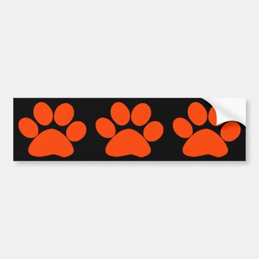 Orange Paw Print Bumper Sticker