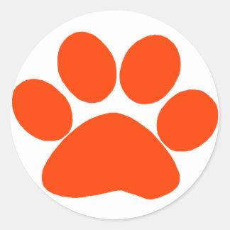 Orange Paw Print Classic Round Sticker