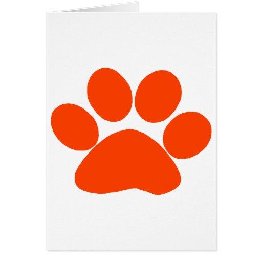 Orange Paw Print Greeting Card