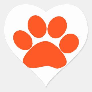 Orange Paw Print Heart Sticker