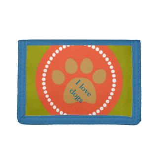 Orange Paw Print Kids Nylon Wallet