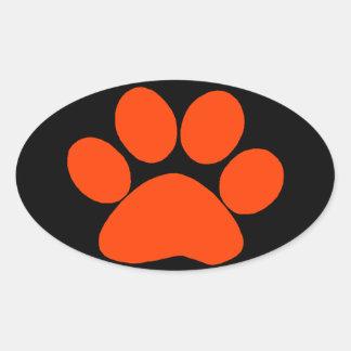 Orange Paw Print Oval Sticker