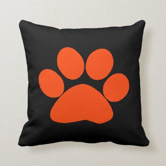 Orange Paw Print Pillow