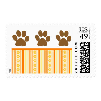 Orange Paw Print Wallpaper Postage Stamps