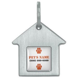 Orange Paw Prints Pet Name Tags