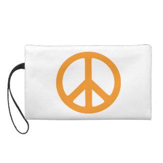 Orange Peace Sign Wristlet Clutches