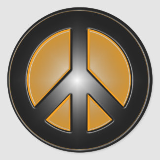 Orange Peace sign Classic Round Sticker