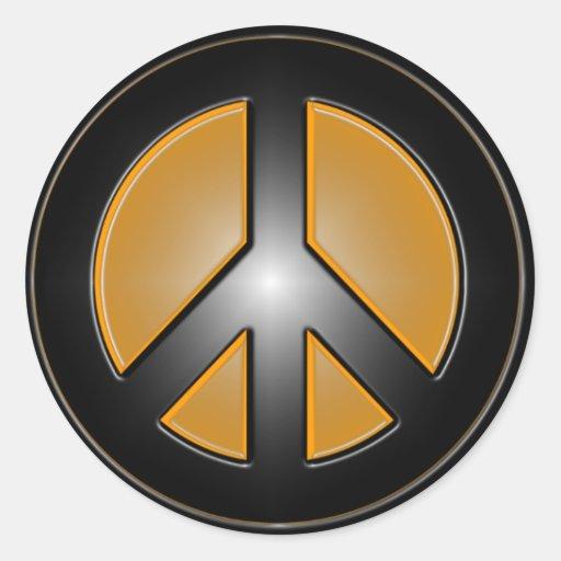 Orange Peace sign Classic Round Sticker