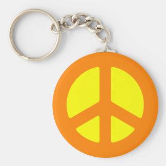 Orange Peace Sign Keychain