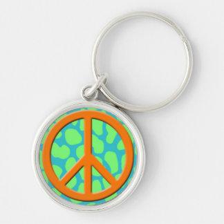 Orange  Peace Sign on Colorful Animal Pattern.jpg Keychain