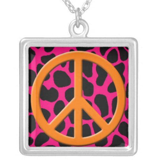 Orange Peace Sign on Colorful Animal Print.jpg Square Pendant Necklace