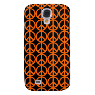 Orange Peace Sign Pattern Galaxy S4 Cases