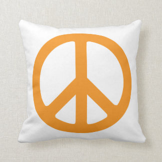 Orange Peace Sign Throw Pillows