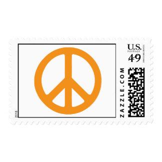 Orange Peace Sign Postage
