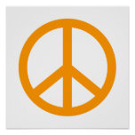 Orange Peace Sign Poster