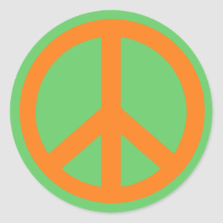 Orange Peace Sign Products Classic Round Sticker