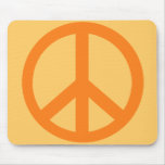 Orange Peace Sign Products Mouse Mat