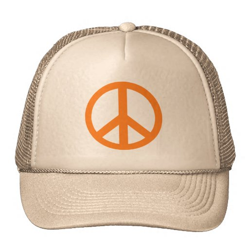 Orange Peace Sign Products Trucker Hats