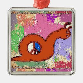 Orange Peace Snail Metal Ornament