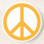 Orange Peace Symbol Drink Coasters