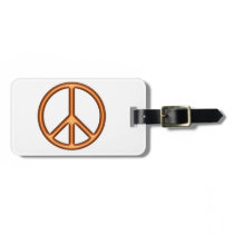 Orange Peace Symbol Luggage Tag