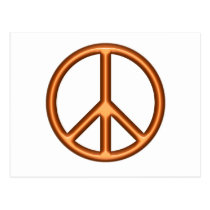 Orange Peace Symbol Postcard