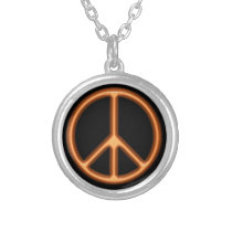 Orange Peace Symbol Silver Plated Necklace