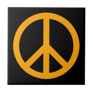 Orange Peace Symbol Tile