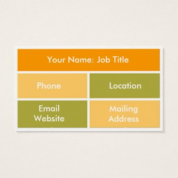 Professional Business Orange, Peach and Gold Block Style Business Cards