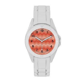 Orange Peach Chevron Wrist Watch