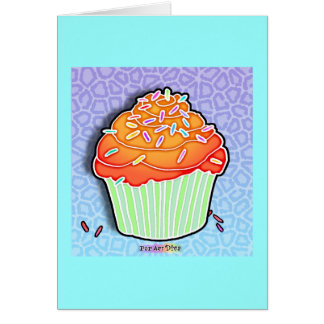 Orange Peach Frosted CUPCAKE GREETING - NOTE CARD