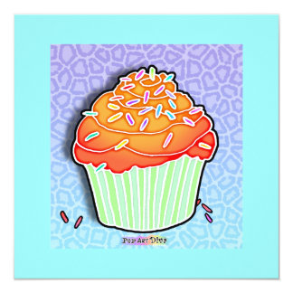 Orange Peach Frosted CUPCAKE Invitation