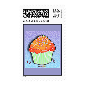 Orange Peach Frosted CUPCAKE POSTAGE