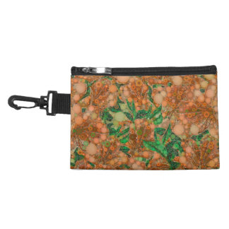 Orange Peach Green Flower Abstract Accessory Bag