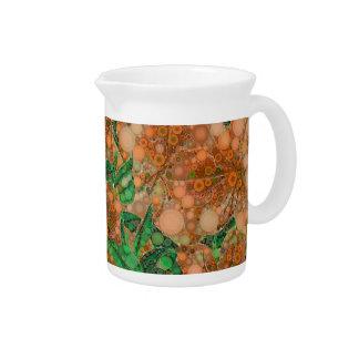 Orange Peach Green Flower Abstract Beverage Pitchers